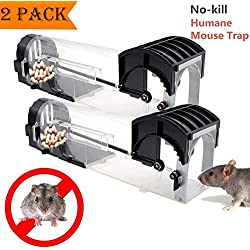 HomemoH Souricières intelligents sans cruauté, 2 Pack Flexible Rodent animal nuisible Contrôle de la souris piège capture en direct