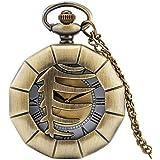 Aeromdale Reloj de bolsillo con diseño de polígono geométrico hueco con números romanos y grabado floral de cuarzo, collar de