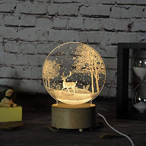 Eeayyygch diseñador nórdico Creativo Tallado Patrones de Bricolaje Luces nocturnas niños y niñas Luces nocturnas 3D Dormitorio cabecera/lámparas de Mesa (8 Patrones patrón Opcional), h