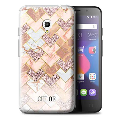 eSwish Personalisiert Individuell Geometrischer Marmor Glitter Gel/TPU Hülle für Alcatel Pixi 4 5.0