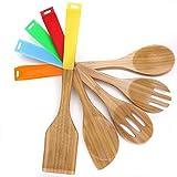 Cooksmark 5pezzi antiaderente, utensili da cucina–Set di utensili cucchiaio e spatola di legno con manici in silicone multicolore in legno di bambù rosso giallo verde arancione blu