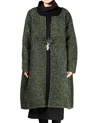 Vogstyle Damen Mantel Wool Coat Mit EIN chinesischer Knopf Wollmantel M Schwärzlichgrün