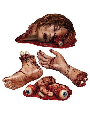 Generique - 4 Halloween Party Aufkleber Blutige Körperteile