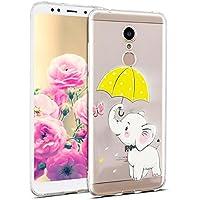 Uposao Hülle Xiaomi Redmi 5 Silikon Handyhüllen Schöne Muster Durchsichtige Ultradünn Schutzhülle Transparent Silikon Bumper Clear Backcover,Weiß Elefant