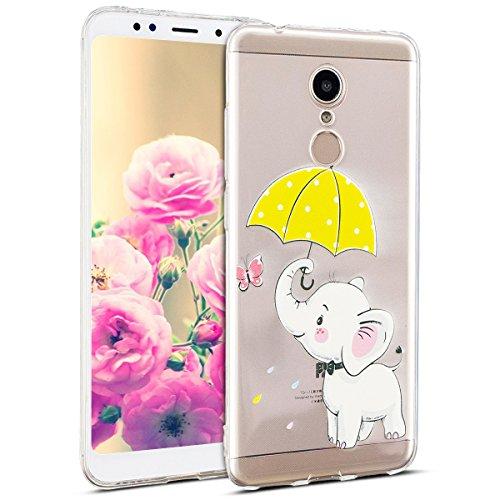 Uposao Kompatibel mit Hülle Xiaomi Redmi 5 Silikon Handyhüllen Schöne Muster Durchsichtige Ultradünn Schutzhülle Transparent Silikon Bumper Clear Backcover,Weiß Elefant