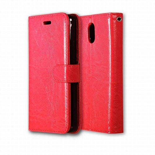 Custodia Lenovo Vibe P1m Cover Case, Ougger Portafoglio PU Pelle Magnetico Stand Morbido Silicone Flip Bumper Protettivo Gomma Shell Borsa Custodie con Slot per Schede Colore Verde Rosso