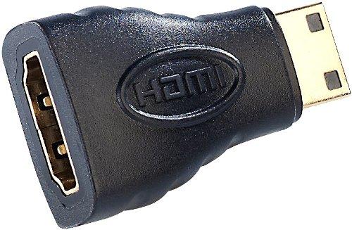 auvisio HDMI Kupplung: HDMI-Adapter HDMI-Buchse (Typ A) auf mini-HDMI-Stecker (Typ C) (Kupplung für HDMI-Kabel)