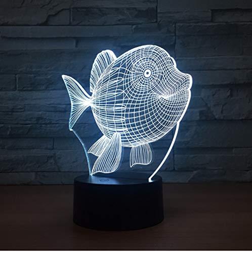 Nachtlicht Für Kinder 3D Illusion Nachtlicht, Touch Button Tisch Schreibtischlampe Mit 7 Farben Licht Für Weihnachten Halloween Geburtstagsgeschenk Gift Bauch Fisch)