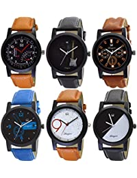 Om Designer Analogue Multi Colour Dial Men's & Boy's Watch Combo Pack of 6 (Mi-29125897)