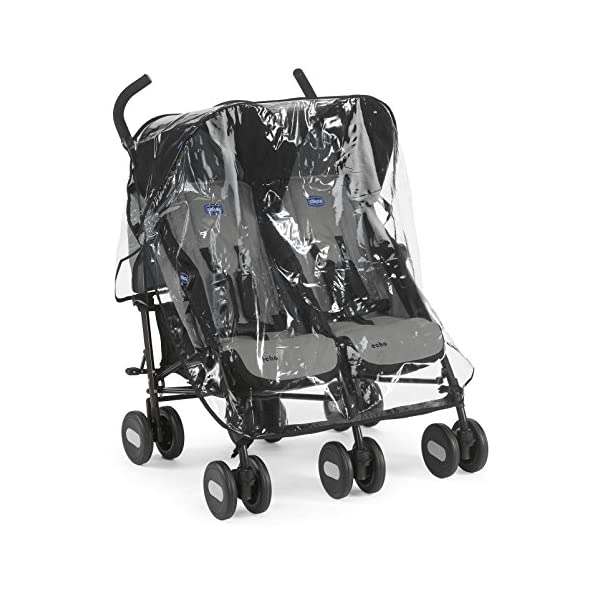 Chicco Echo Twin Stroller Coal - Black  With elliptical frame tubes in contemporary angles Features elegant stay clean wheels with repeat logo details to match name seat graphic Lockable front swivel wheels 1