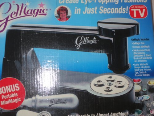 GeMagic ... Add Sparkle to Almost Anything ... Create Eye-Popping Fashions in Just Seconds ... Includes GeMagic Tool, Portable MiniMagic, 300 Assorted Studs (rhinestones--imitation, gemstones--imitation & stars), idea book by Cathy Mitchell