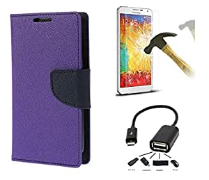 Online Street Combo of Flip Cover For Samsung Galaxy Note 3 Neo GT7505 - (Purple Flip+ Tempered+OTG)