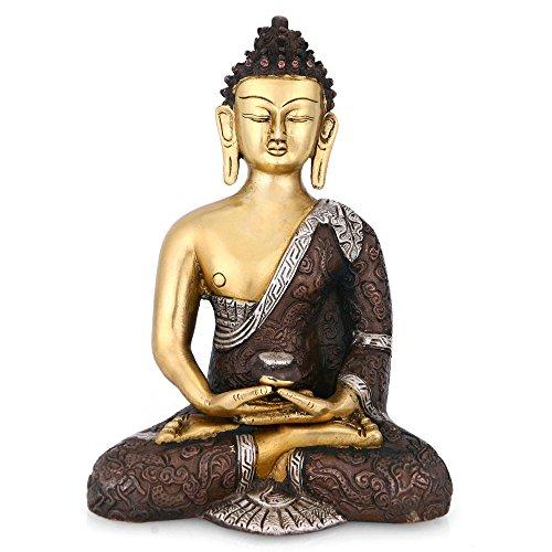 CraftVatika grande estatua de latón de Buda meditando Tibet budista Figura de Buddha Yoga statue-decorative Figura