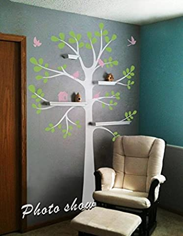 Baum Wand Aufkleber–Regal Baum Aufkleber mit Vögeln Vinyl Tree Wandaufkleber Kinderzimmer Wandtattoo Aufkleber Kinderzimmer Art Decor B (Baumstamm: Weiß; Blätter: lime-tree grün; Vögel und Nest: Soft Pink)