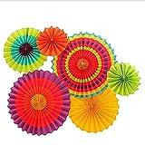 Alivier 6 Stück Bunte Fiesta Papier Fans hängen Dekoration für Geburtstag Hochzeit Karneval Party Weihnachten