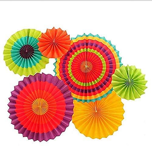 PoeHXtyy 6 Stück Bunte Fiesta Papier Fans hängen Dekoration für Geburtstag Hochzeit Karneval Party Weihnachten