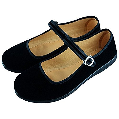 Women Velvet Walk Comfort Mary Jane Flats Shoes (6.5)