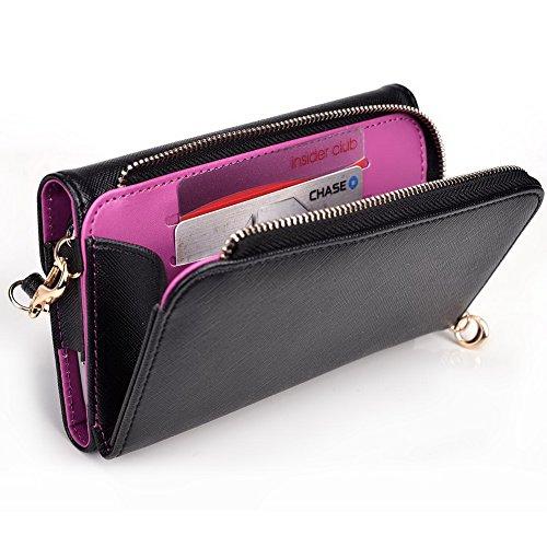 Kroo d'embrayage portefeuille avec dragonne et sangle bandoulière pour Asus ZenFone 5 Black and Orange Black and Violet
