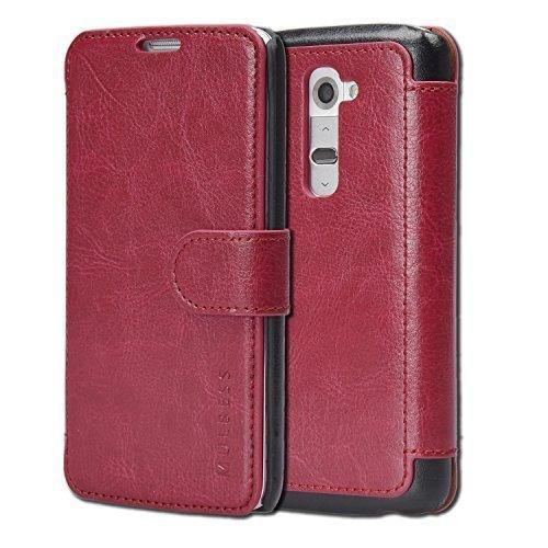 Mulbess LG G2 hülle Wein Rot,Ledertasche für LG G2 Tasche Leder