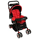 #5: GetBest Pop Pop Multi Reclining Pram and Stroller for Baby with Parent Tray, Red