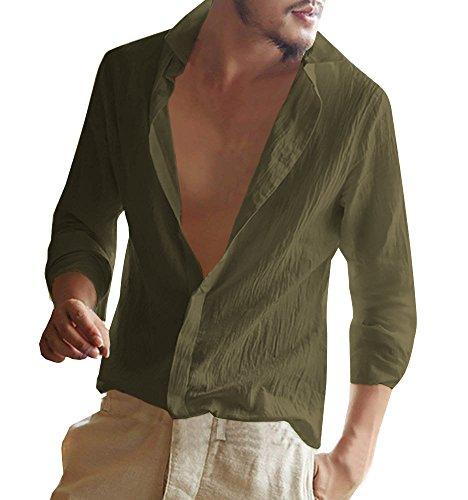 Minetom camicie casual uomo maniche lunghe lino stretch pulsanti camicie slim fit commercio shirt estiva camicie da spiaggia verde small