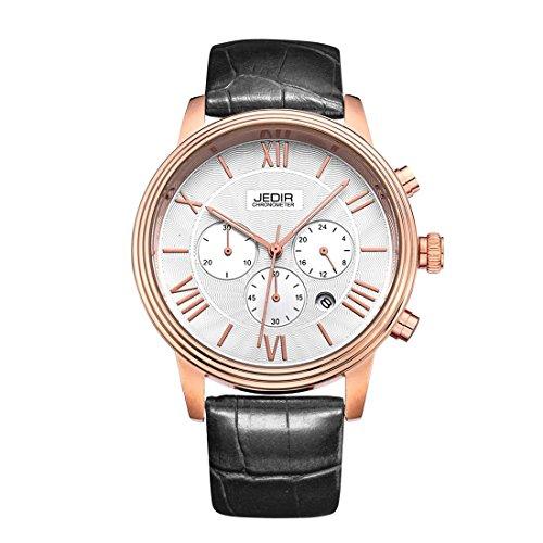 Gute pour homme Rose Doré 38mm Analogique à Quartz Chronomètre Montre Cadran Blanc et Bracelet en Cuir Synthétique Noir
