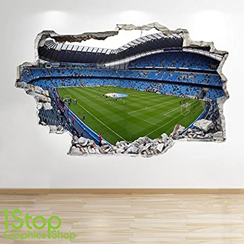 MANCHESTER CITY STADIUM WALL STICKER 3D LOOK - BOYS KIDS FOOTBALL BEDROOM Z416 Size: Large