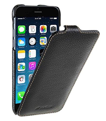 Edle Tasche für Apple iPhone 6S und 6 (4.7 Zoll) / Case Außenseite aus beschichtetem Leder / Cover Innenseite aus Textil / Schutz-Hülle aufklappbar / ultra-slim / Flip-Case / Farbe: Schwarz Farbe Flip Case