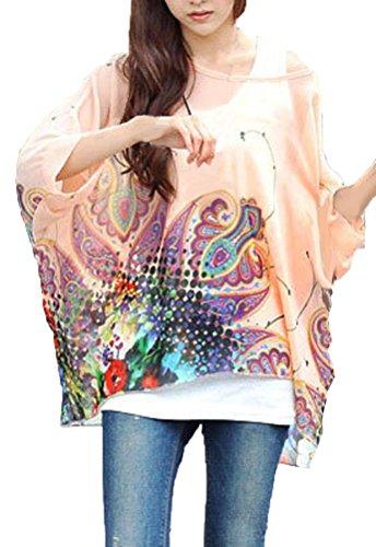Camicetta Chiffon Donna Estate T Shirt Stampa Floreale Maglietta Manica 3 4 Bohemian Blusa Taglie Forti - Landove Modello 01