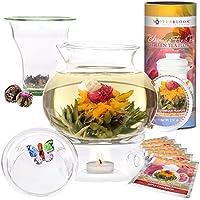 Teabloom Wings of Love Blooming Tea Gift Set - 1500ml Borosilicate Glass Teapot, Teapot Warmer, Glass Loose Tea Infuser, 12 Fruit Flowering Tea Canister