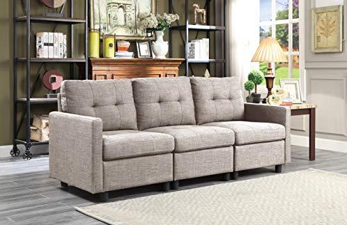 Oadeer Home D6013-9-Light Grey-3-teilig, Grau - Modulare Sectionals