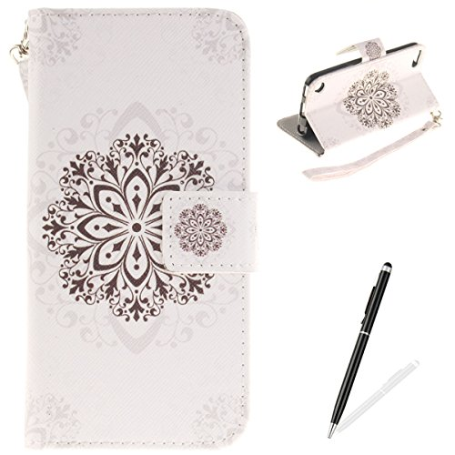 ipod Touch 5/6 Hülle,ipod Touch 5/6 Handytasche,MAGQI Extra Dünn Premium PU Leder Folio Brieftasche Cover mit Vintage Mandala Design Standfunktion Magnetverschluss Weich Flip Wallet Bookstyle Skin Back Case [Abnehmbar Hand Strap] + Frei Stylus Stift für ipod Touch 5/6 - Schwarze Mandala (4 Case Ipod Glitter Lila Touch)