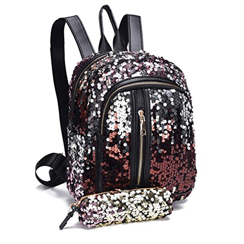Beikoard vendita calda borsa borsa a tracolla da viaggio zaino moda borsa scuola di paillettes moda + portafoglio frizione (rosso)