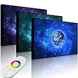 lightbox-Multicolor LED Bild mit Beleuchtung, Planet Erde im Weltraum, 100x70 cm, Front Lighted Bunt