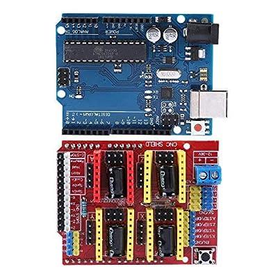 Zerone 3D-Drucker-Kits CNC Shield V3.0 + R3 Board + Nema 17 Schrittmotor + 4 A4988 Treiber + Schrittmotor Controller Shield Kit mit Kühlkörper für Quimat Arduino