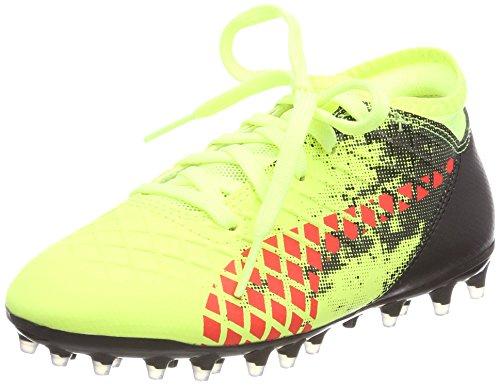 Puma Kids Future 18 4 MG Jr Football Boots Fizzy Yellow-Red Blast Black 1 UK 1 UK