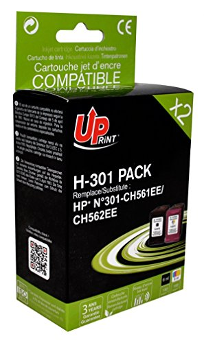 Pack de 2 cartouches compatible HP CH561EE/CH562EE-N°301 - Noir + Cyan, Magenta, Jaune - marque : UPrint H-301 PACK - Imprimantes : DESKJET 1000 J110 / DESKJET 1010 / DESKJET 1050 / DESKJET 1051 / DESKJET 1055 / DESKJET 1056 / DESKJET 1510 / DESKJET 1512 / DESKJET 2000 / DESKJET 2050 / DESKJET 2510 / DESKJET 2512 / DESKJET 2514 / DESKJET 2540 / DESKJET 2542 / DESKJET 3000 / DESKJET 30