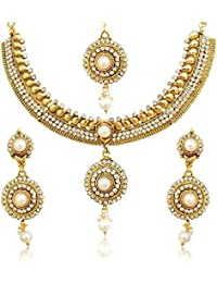 Zeneme Pretty White Flower Pearl Jewellery Set / Necklace Set With Earring & Mang Tika For Women / Girls