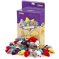 Chiwava 10cm 36 Stück Pelzig Katzenspielzeug Rassel Maus Spielzeugmäuse für Katzen Interaktives Spielen Sortiert Farbe
