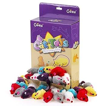 Chiwava 36 pièces10,4cm Fourrure Souris Jouet pour chat souris Lovely Petit Chaton Jeu interactif couleurs assorties