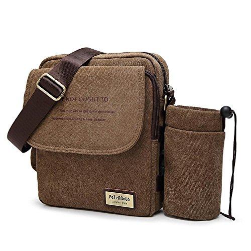 Pawaca Mens Canvas Messenger Bag, Abnehmbare Vintage Crossbody Umhängetaschen mit Wasserflasche Tasche für Reisen, Business, Schule(Kaffeebraun)