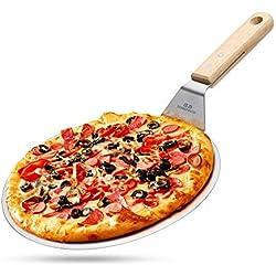 G.a HOMEFAVOR Pelle à Pizza Ronde en Acier INOX avec Manche en Bois, Gâteau Lifter pour Les Pizzas, Gâteaux, Tartes, Pain