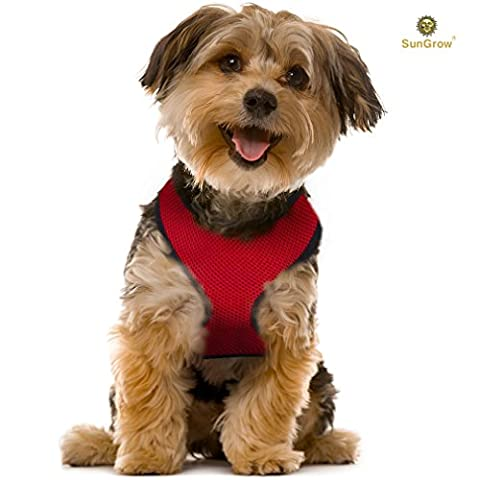 """Radiant Red Dog Harness by SunGrow: Comfortable, Soft breathable fabric: Adjustable from 14 to 20"""": Safe Padded neck opening: Easy Snap on and off: Secure Straps & D"""