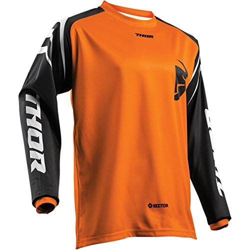 Thor Sector Zones Kinder Motocross Jersey Shirt Trikot Offroad Enduro Cross Schwarz Blau Rot Orange Grün (L, Orange) (Jersey Motocross Mädchen)