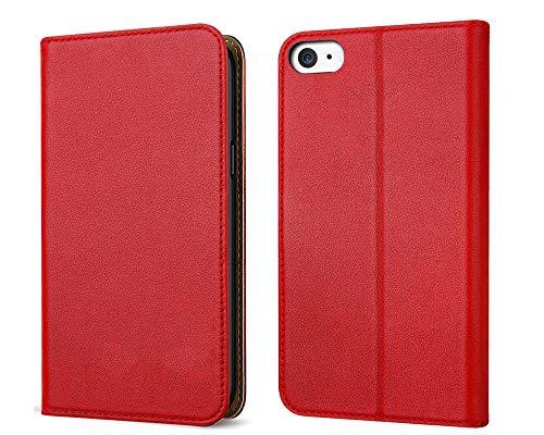 FDTCYDS iPhone 4 hülle, iPhone 4s Handyhülle, Premium Leder Handy Schutzhülle Flip Case Tasche für Apple iPhone 4/4s - Rot Apple Iphone 4s Leder