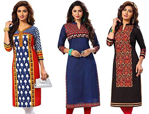 Jevi Prints Women's Kurti Fabrics (Pack Of 3) (Saheli-1507-1523-1532_Multi-Coloured)