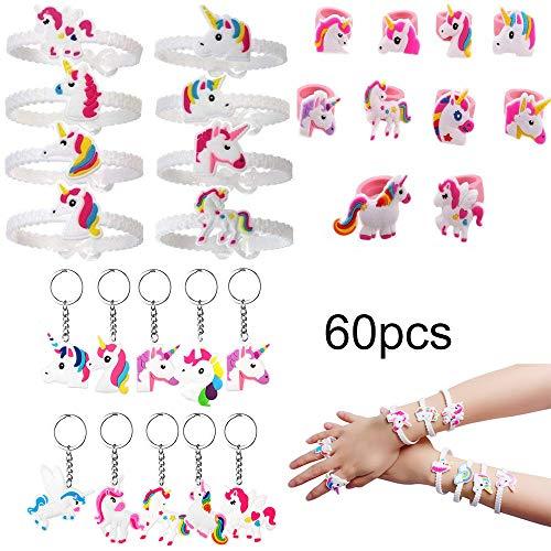 y Favors Schlüsselanhänger Gummi Armband Anhänger Finger Ringe Spielzeug für Kinder Mitgebsel Birthday Party Bags Pack Fillers Geschenke Schulklasse Belohnungen ()
