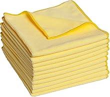 Paños de microfibra - Paños de limpieza 40 x 40 cm, paquete con 10 unidades, suave, sin pelusas, amarillos, raya-libre