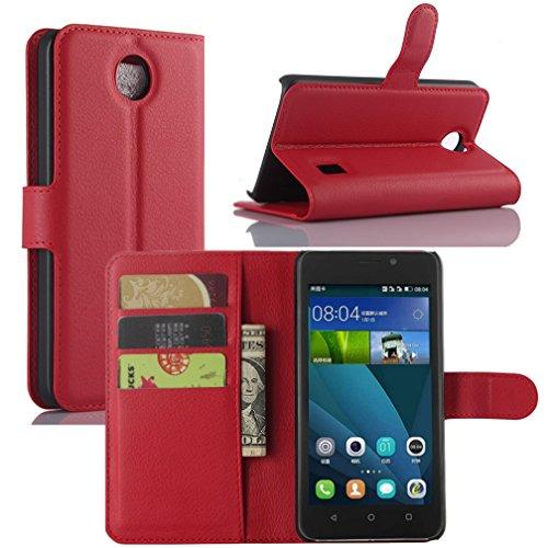 Huawei Y635Custodia, hualubro [Kickstand] [tutto intorno protezione] premio PU Pelle Portafoglio Custodia protettiva cover con slot per scheda per Huawei Ascend Y635smartphone, Red