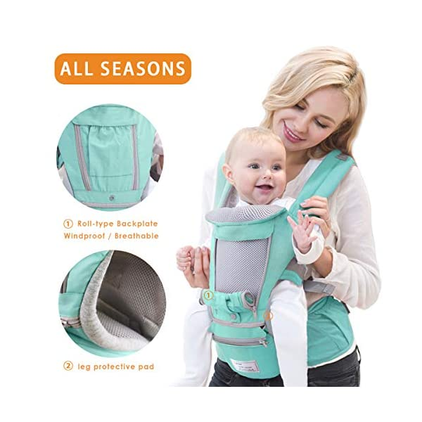 SONARIN 3 in 1 Multifunction Hipseat Baby Carrier,Front and Back,100% Cotton,Ergonomic,Easy Mom,Adapted to Your Child's Growing, 100% Guarantee and Free DELIVERY,Ideal Gift(Green) SONARIN Applicable age and Weight:0-36 months of baby, the maximum load:36KG, and adjustable the waist size can be up to 47.2 inches (about 120 cm). Material:designers carefully selected soft and delicate Cotton fabric. Resistant to wash, do not fade, ensure the comfort and breathability, Inner pad: EPP Foam,high strength,safe and no deformation,to the baby comfortable and safe experience. Description:Scientific 35°, the baby naturally fits the mother's body, safe and comfortable.Patented design of the auxiliary spine micro-C structure and leg opening design, natural M-type sitting.H-type bridge belt, effectively fixed shoulder strap position, to prevent shoulder straps fall, large buckle, intimate design, make your baby more secure. 3